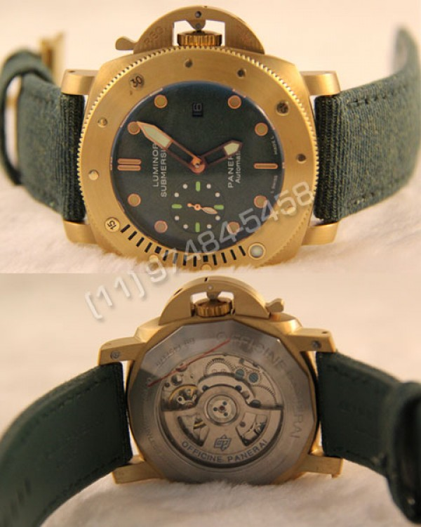 Réplica Relógio Panerai Submersible Gold Green 810