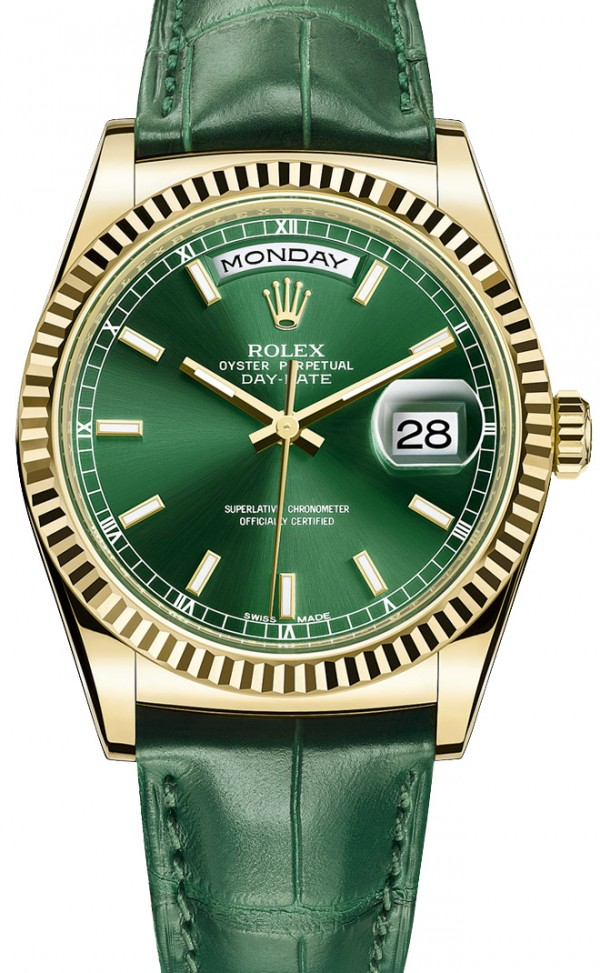 Réplica de Relógio Rolex Day Date Gold Green Edition